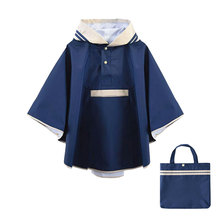 High quality Plain color kids waterproof thick warm hooded rain coat cape poncho for children