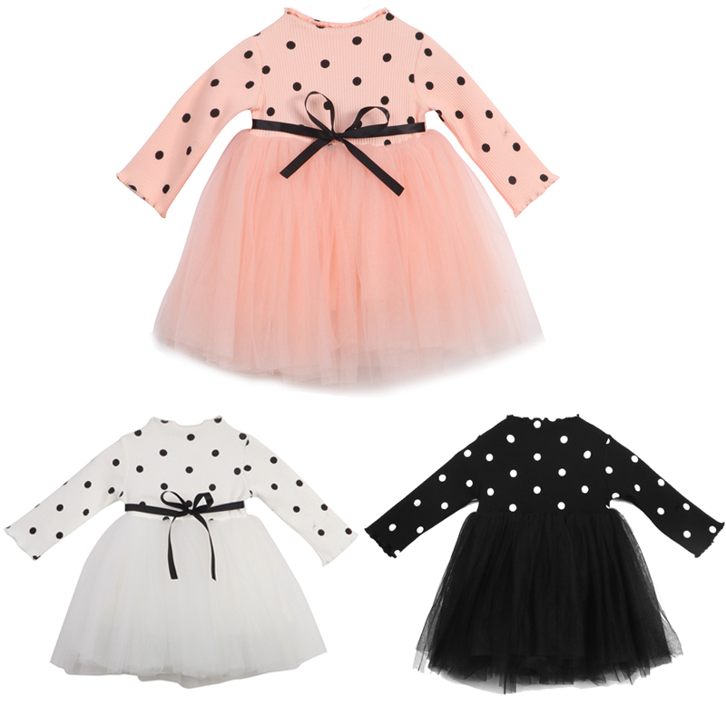 Lovely Newborn Toddler Kids Baby Girl Princess Dress Long Sleeve Knitted Polka Dot Patchwork Tutu Ball Gown Pageant Party Dress fashion toddler puff sleeve off shoulder dress kids baby girl polka dot party princess dresses sundres birthday gift 1 6t