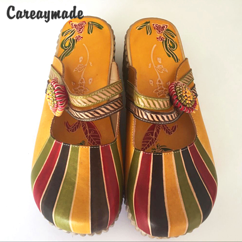 Careaymade Hot selling New Hot Summer Genuine leather cowhide flat slippers Women ethnic style candy color