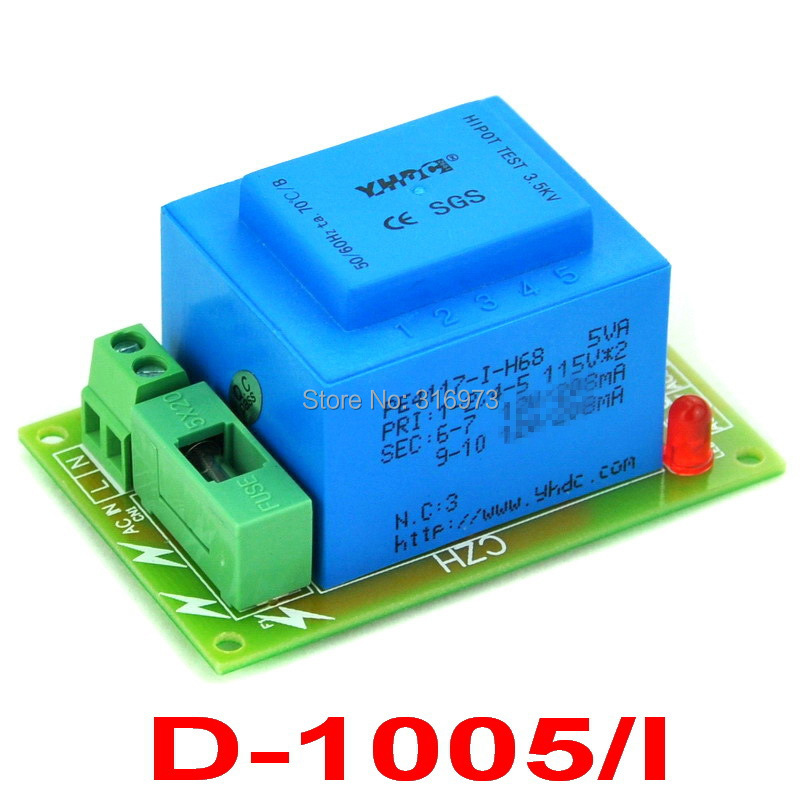 Primary 115VAC, Secondary 2x 18VAC, 5VA Power Transformer Module, D-1005/I,AC18VPrimary 115VAC, Secondary 2x 18VAC, 5VA Power Transformer Module, D-1005/I,AC18V