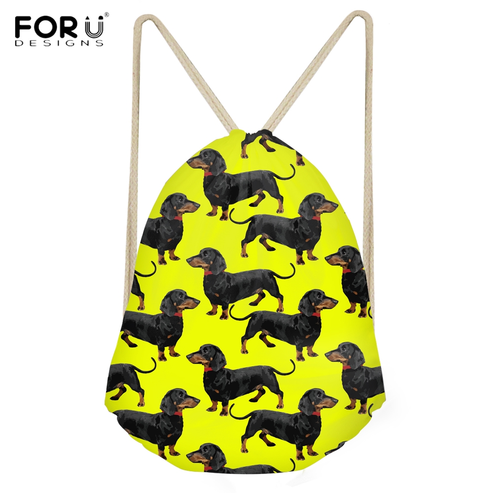 FORUDESIGNS Fashion Woman Yellow Drawstring Bags Cute 3D Puppy Dachshund Print Female Backpacks Multi-function Storage Beach Bag