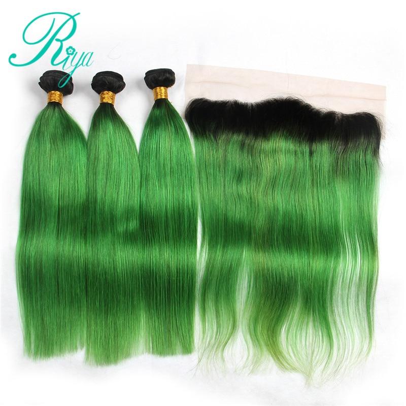 Riya Hair Pre-Colored Ombre Hair Brazilian Human Hair Straight Hair 3/4 Hair Extension With 13* 4 Lace Frontal 1B Emerald Green
