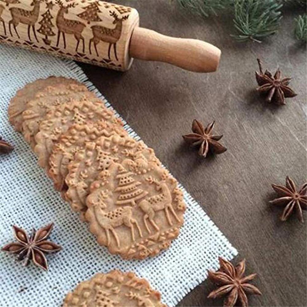 Christmas Embossing Rolling Pin Baking Cookies Biscuit Mold Fondant Cake Dough Engraved Roller Reindeer Snowflake Navidad Decor (7)