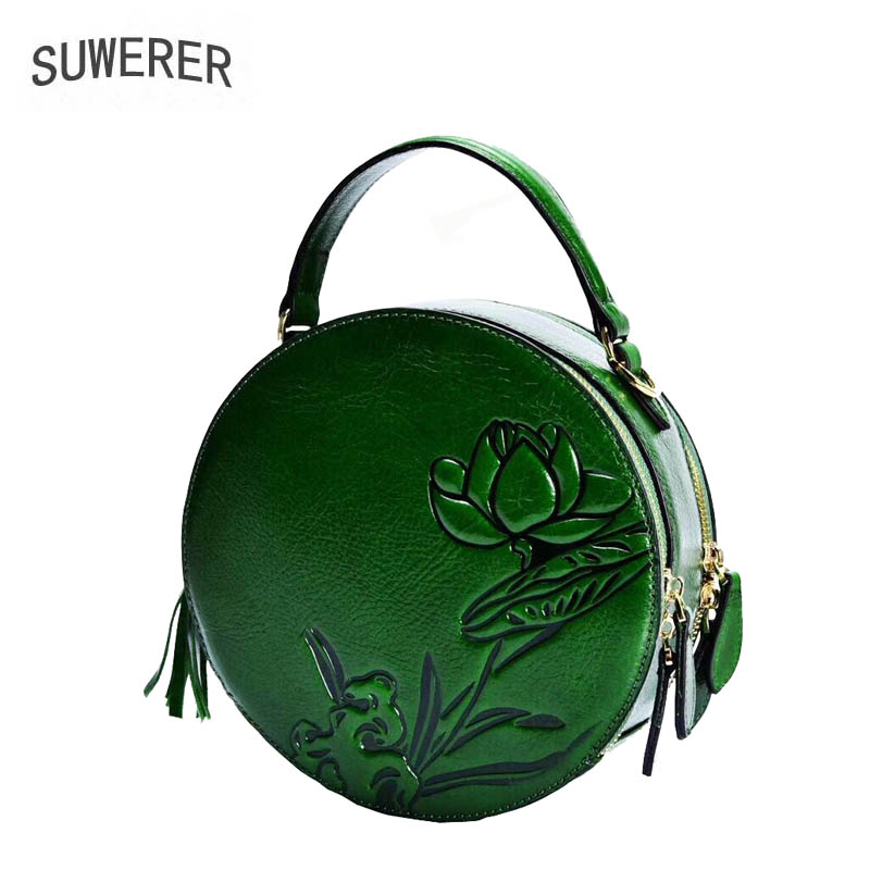 Genuine Leather handbag 2018 new retro small round package Leather Shoulder Messenger Bag Boston Bag Love Round Phone Bag summer bag 2018 new round package personality retro handbag imported leather messenger bag female shoulder bag leather handbags