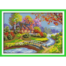 Everlasting love The outskirts cabin Chinese cross stitch kits Ecological cotton stamped 11CT  DIY new year decorations for home