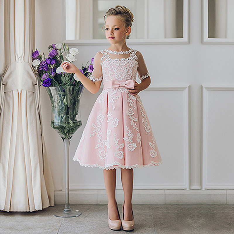 Fancy Pink Flower Girl Dress with Appliques Half Sleeves Knee Length A-Line Gown with Ribbon Bows For Christmas 0-12 Years Old цена