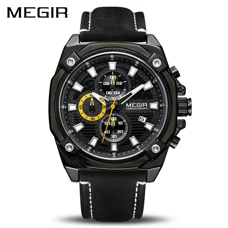 MEGIR Men Sport Watch Brand Chronograph Army Military Quartz Watches Clock Men Leather Wristwatch Reloj Hombre Relogio Masculino цена 2017