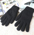 Winter men and women's knitted double layer thicken gloves male women's thermal black gloves plus velvet driving gloves