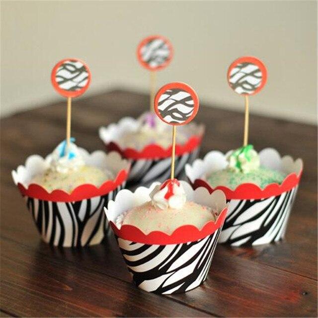 Zebra Print Baby Shower Decorations Black And White Striped Cupcake