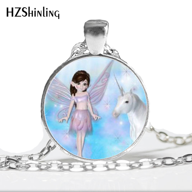 Hz a337 new little fairy necklace unicorn pendants in silver glass hz a337 new little fairy necklace unicorn pendants in silver glass art photo necklace aloadofball Image collections