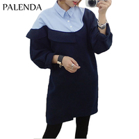 Palenda 2017new Hit Color Blue Cotton Band Collar Dress Soft Wide Fit Leisure Straight For Autumn