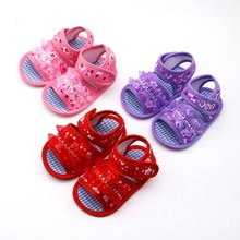 Summer Toddler Sandals Baby Girl Boy Shoes Princess Floral Hollow Sandals Children Shoes Print Flower Cotton Beach Shoes(China)