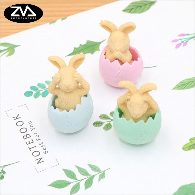 3pcs/lot Cute Cartoon Eggshell Rabbit Eraser Children Learning Stationery Kawaii School Supplies Papelaria Gift For Kids