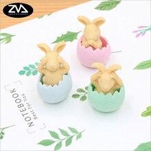 Купить с кэшбэком 3pcs/lot cute Cartoon Eggshell rabbit eraser children Learning stationery kawaii school supplies papelaria gift for kids