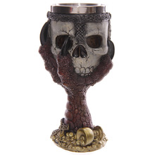 Free Shipping 1Piece Dragons Claw Warrior Skull Gothic Goblet Gothic Spine Chalice Pagan Samhein Halloween Ornament