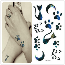 1Pcs RC Multicolor Series Sexy Waterproof Cute Cat Footprints Lady Temporary Tattoo,Disposable Tattoo Stickers Decals