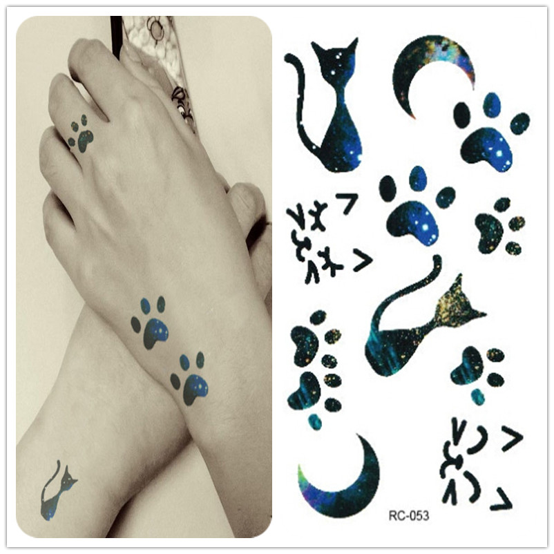 Free delivery of new waterproof temporary tattoo sexy, cute sexy chest cat footprint on the moon gradient body painting decals