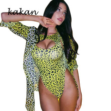 Kakan summer new womens leopard jumpsuit two-piece sexy print hollowed out bare chest beach