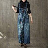 2019 Women Vintage Washed Floral Printed Wide Leg Bib Blue Denim Overalls Jean Jumpsuits Female Large Size Drop Crotch Rompers