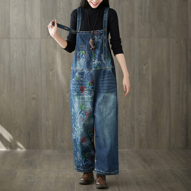 2019 Women Vintage Washed Floral Printed Wide Leg Bib Blue Denim Overalls Jean   Jumpsuits   Female Large Size Drop Crotch Rompers