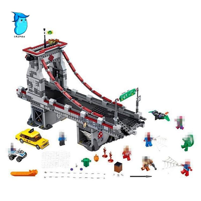 LEPIN 07038 1165Pcs Super Hero Spiderman Web Warriors Bridge Battle Model Building Blocks Bricks Set Education Children Toys nikko машина nissan skyline gtr r34 street warriors 1 10 901584 в перми