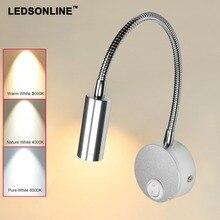 LEDSONLINE 3W LED Wall Sconce Lamp Silver Spotlight Reading Light Soft Light Gooseneck Flexible Pipe Light with Switch Aluminum