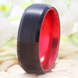 Image 3 - קלאסי חתונה לנשים גברים של טונגסטן טבעת טונגסטן השחור עם אדום אלומיניום אירוסין טבעת משלוח חריטת טבעת
