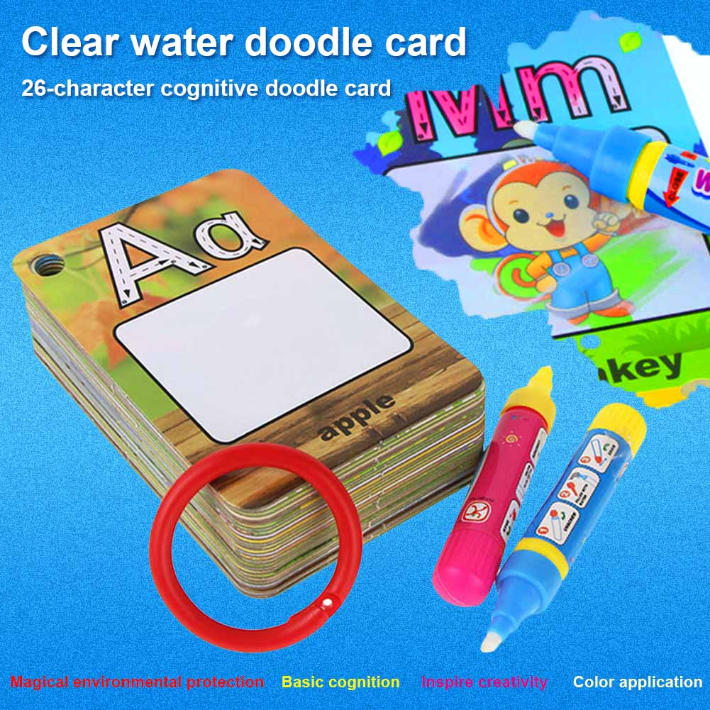 Water Drawing Card 26 Alphabet Coloring Book With Pen Painting Reusable For Children Kids AN88