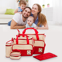 High Quality 5pcs Baby Diaper Bag Suits For Mom Adjustable Baby Bottle Holder Mother Mummy Stroller