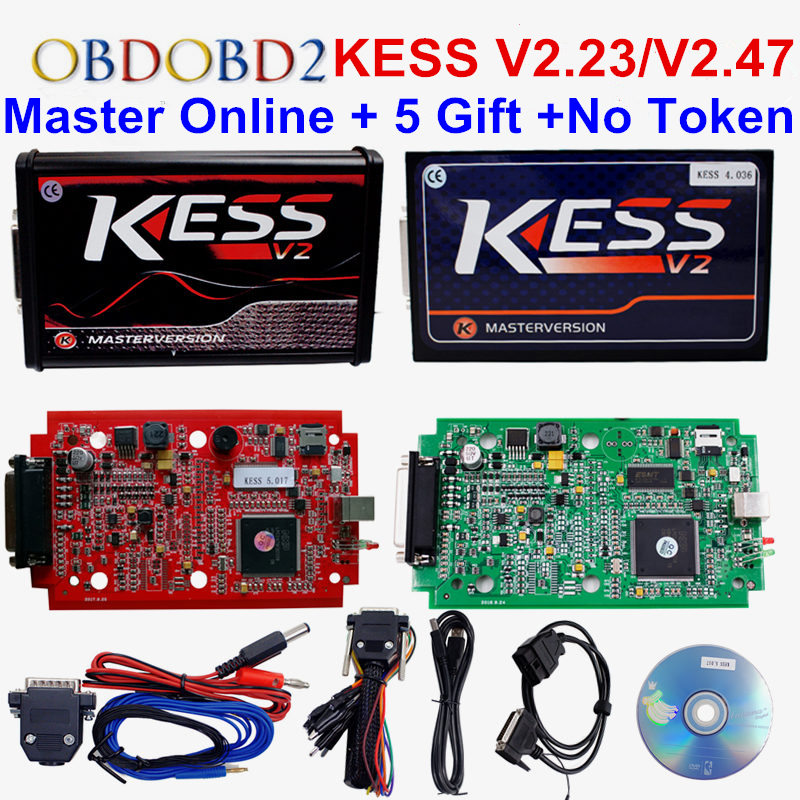 Online Red EU KESS V5.017 V2.47 Ktag V7.020 No Token Limit Master Kess 5.017 K-tag 7.020 OBD2 Manager Tuning Kit For Car/Truck