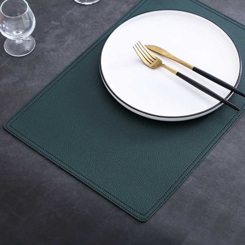 Simple Double Leather Placemats Solid Color Non Slip Table Mat Waterproof And Oilproof Table Pads Kitchen Table Accessories