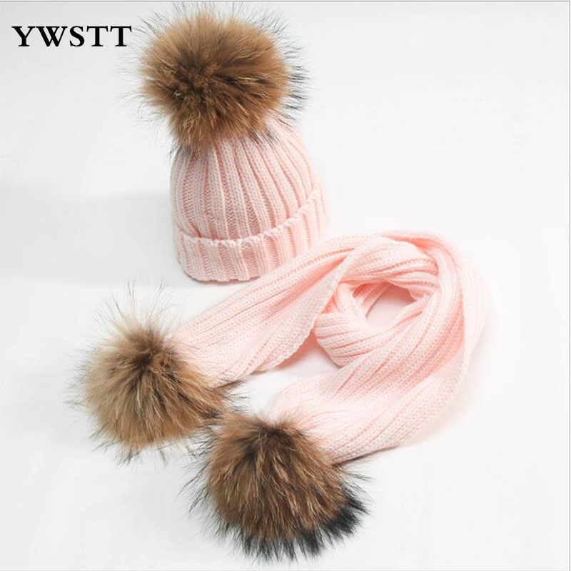 2pcs Children's Winter Cotton Hat And Scarf Sets Real Fur Fox Fur Pom Hat Kids Warm Knit Cap Beanie Hats For Girls Boys Baby good quality real mink fur hat winter knitted mink fur beanies cap with fox fur pom poms 2016 new brand thick female cap