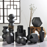 Ceramic Retro Simple Creative Desktop Small Ceramic Coarse Pottery Vase Geometry Shape Vase Hydroponic Home Furnishing