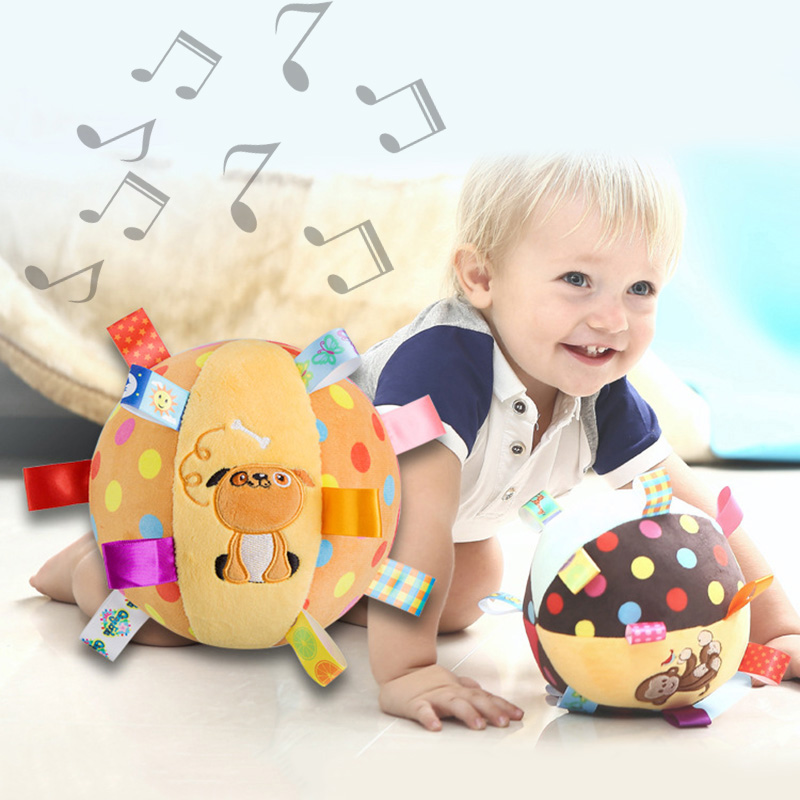 Hot Selling Baby Soft Plush Ball Children Animal Toy With Sound Rattles Infant Toy Bright Colors Crawl Ball For Infant