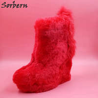 Sorbern Red Fur Slip On Wedge High Heels Women Pumps Thick Platform Winter Shoes Ankle Ladies Shoes Woman Wedge 2018 Plus Size