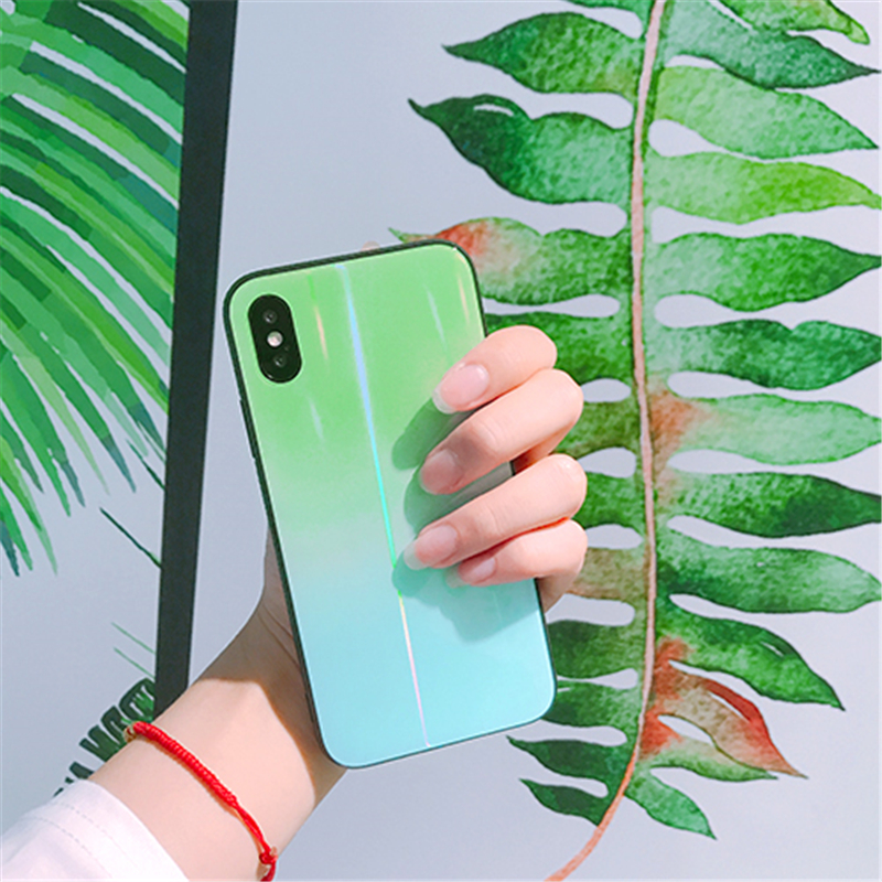 BONVAN For iPhone X 7 8 Plus Tempered Glass Back Case Gradient Color Laser Aurora Silicone Bumper For iPhone 7 6S 8 6 Plus Cover13