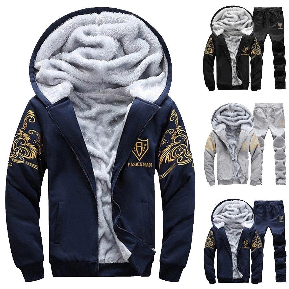 Mens Hoodie Winter Warm Fleece Hood Zipper Sweater Jacket Outwear Coat Outwear