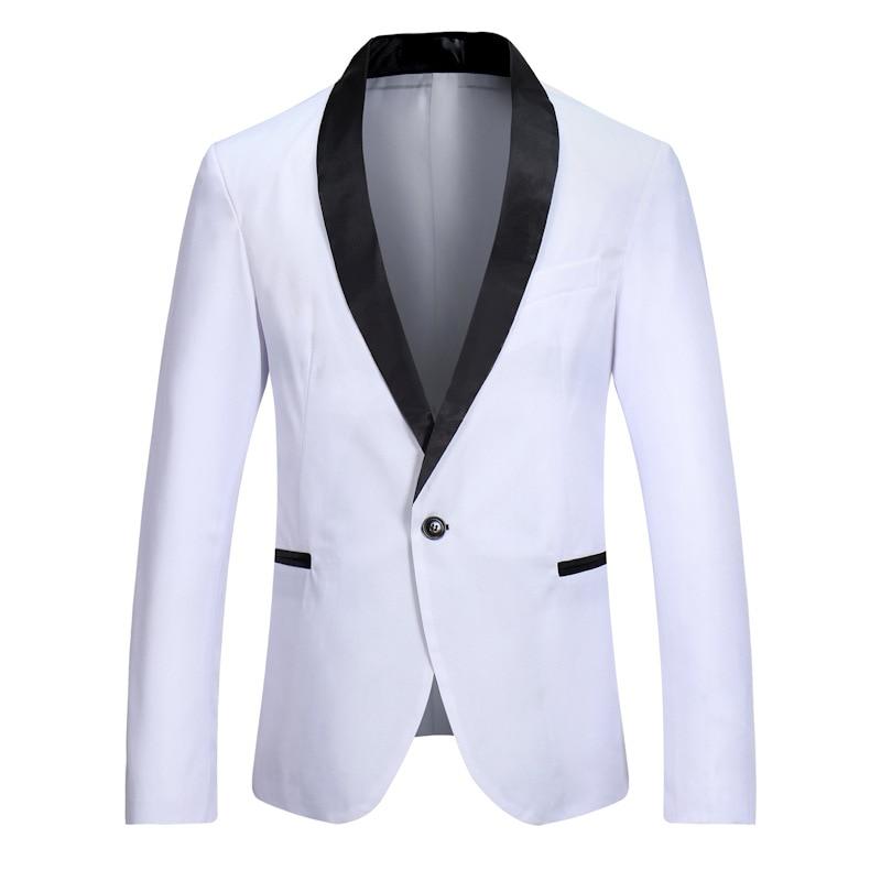 Для мужчин белые куртки-пуховики на одной пуговице с отложным воротником смокинг-пиджак 2019 мода Slim Fit костюм из лоскутов куртка мужской, Сва...