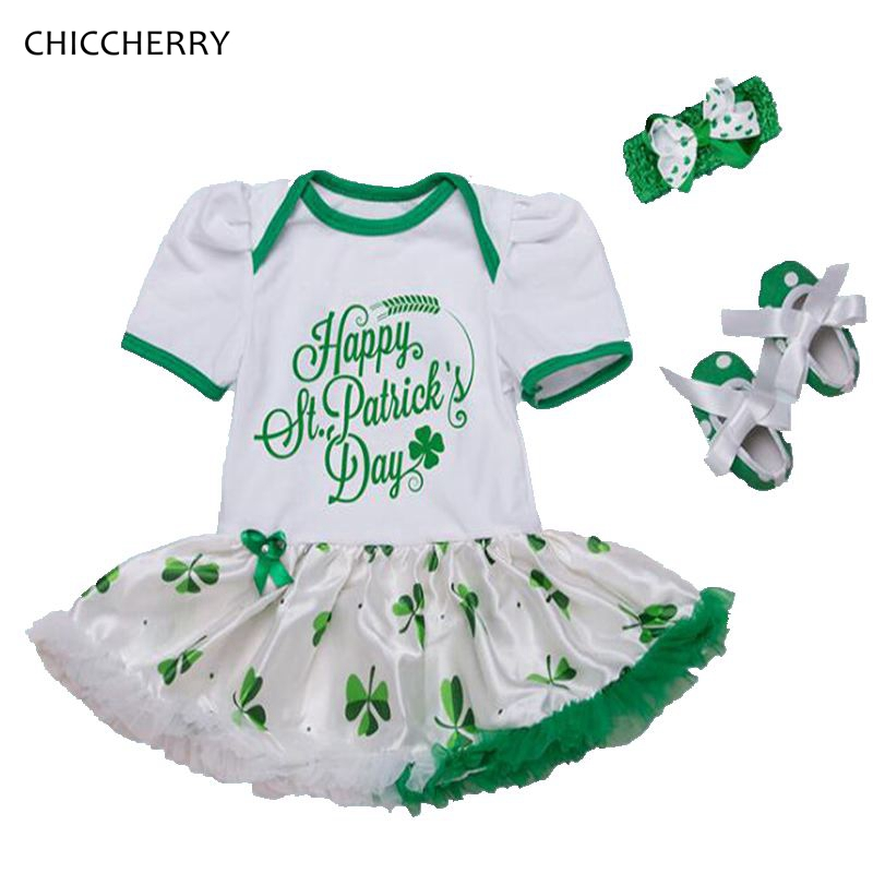 Happy St Patricks Day Outfit Baby Girl Romper Dress Headband Crib Shoes Bebe Party Newborn Tutu Sets Cute Toddler Girl Clothes