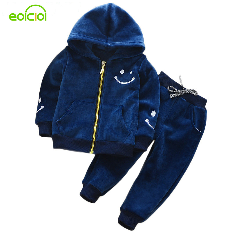 EOICIOI kids girls boys clothing set autumn winter thicken smiling face children clothes 2pcs hooded jackets tops+pants outfit