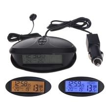 Digital Car In & Outdoor Thermometer Voltmeter Time Clock Alarm Backlight EC98
