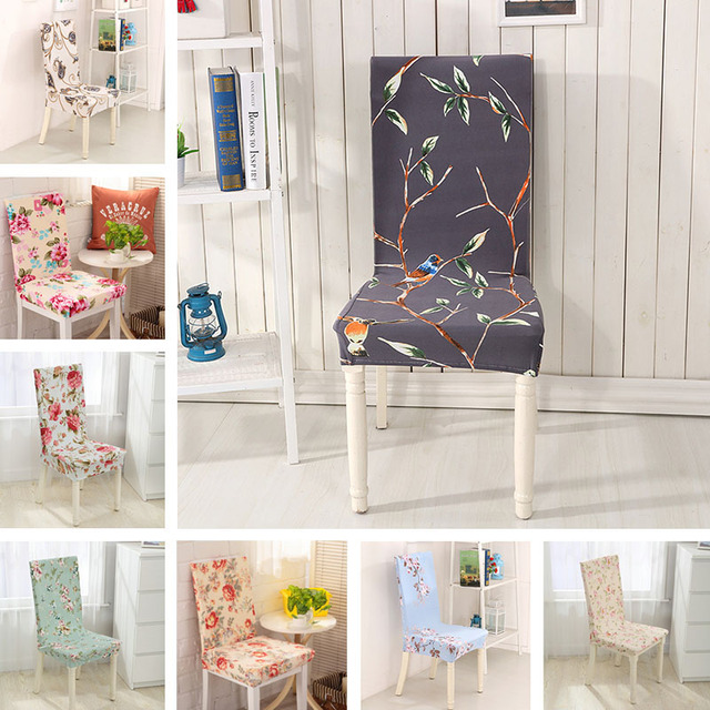 1Pcs Floral Pattern Chair Decor Printing Cover Elastic Dining Room Removable
