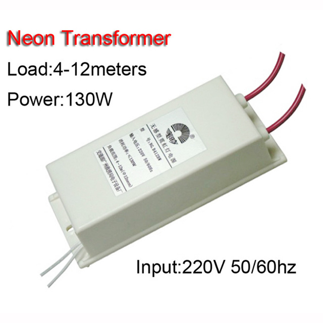 Free Shipping 12M Neon Lamp Electronic Transformer Power Supply 130w Load 4-12 Meters Input 220V 50/60Hz Output DC 12KV 30mA