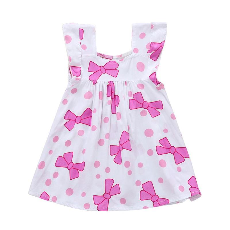 Summer Baby Girl Dress Sleeveless Spuare Collar Bowknot Dot Print Sweet Lovely Dresses Kids Clothes Dress for Girl