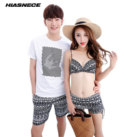 Couples Swimsuit Women 3 Piece Bikinis Cover up Man's Beach Shorts vintage Print Sexy Halter Top Swimwear Lover's Bathing suits