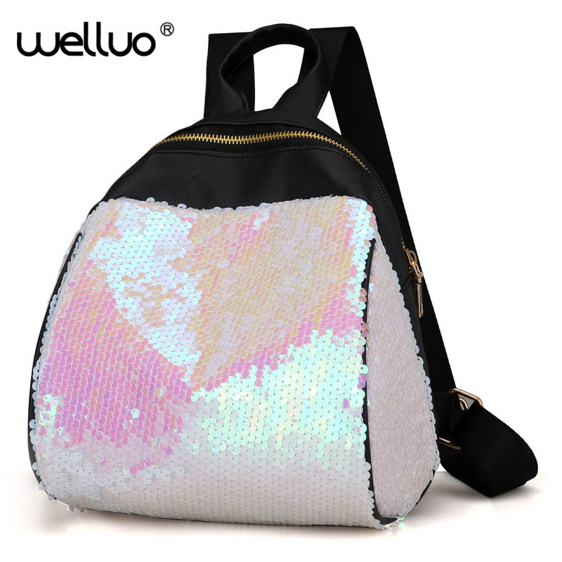 2017 NEW arrive Famous Brand Designer Women Bling Bling Backpack Fashion Sequins Backpack Preppy Style Girl