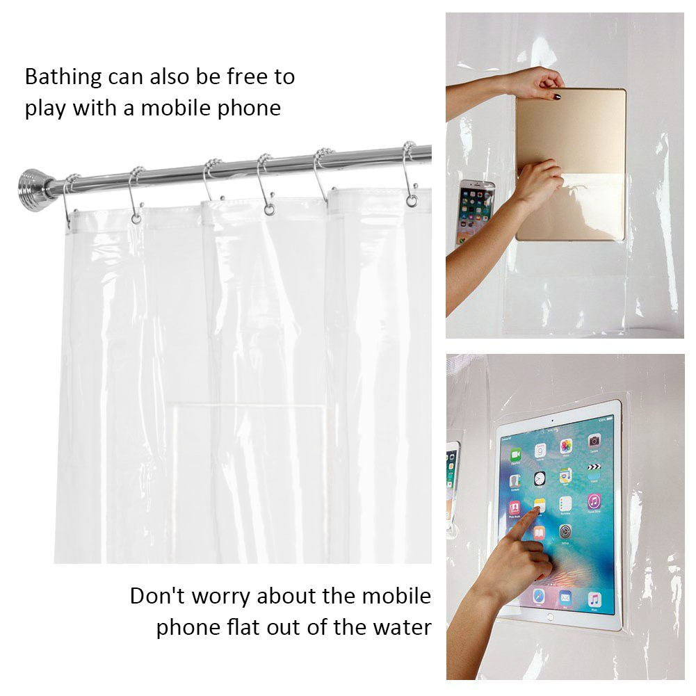Phone Tablet Holder Shower Curtain Liner With Pockets Eco Friendly EVA Quick Dry Clear Best Price