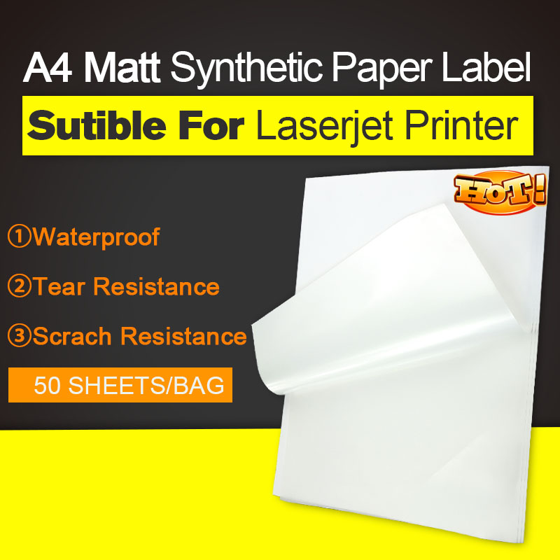 Synthetic Laser Label Paper  - 50 Sheets A4 Weatherproof | Tear Resistant,  Permanent Self-adhesive Printer Stickers