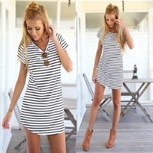 Women Fashion O-Neck Short Sleeve Striped Loose Mini Dress T shirt Everyday Dresses Female Beach Summer Black/White S-4XL