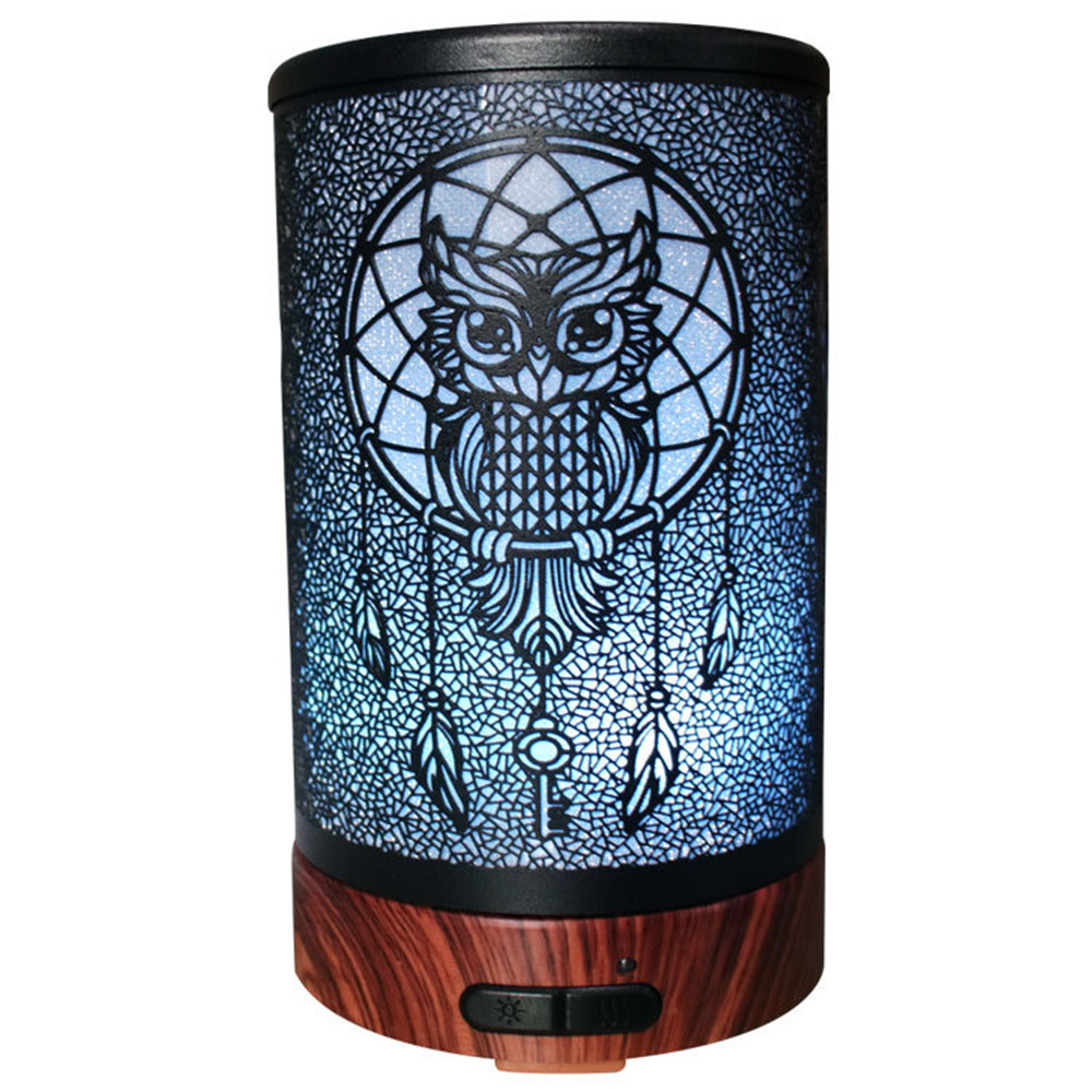100ML Owl Pattern Metal Cover Humidifier With White/ Rosewood Base Electric Aroma Essential Oil Diffuser With Colorful Night Light